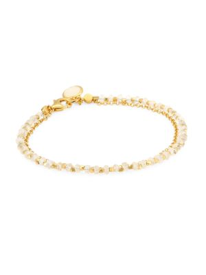Astley Clarke 14K Yellow Goldplated & Rainbow Moonstone Biography Charm Bracelet In White