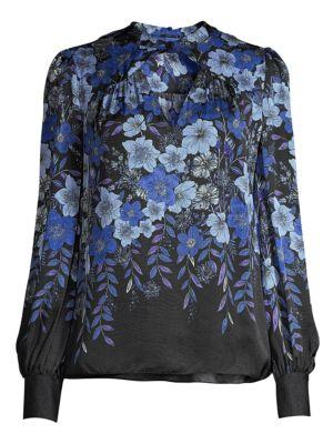 Elie Tahari Siobhan Floral Silk Blouse