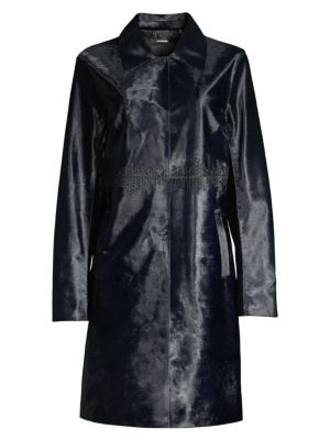Elie Tahari Karla Calf Hair Trench Coat In Stargazer
