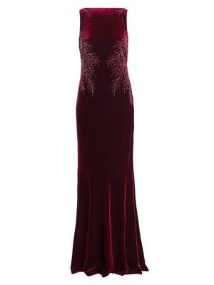 Teri Jon By Rickie Freeman Embellished Cowl Back Velvet Dress