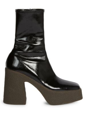 Stella Mccartney Faux Patent Leather Platform Booties In Black