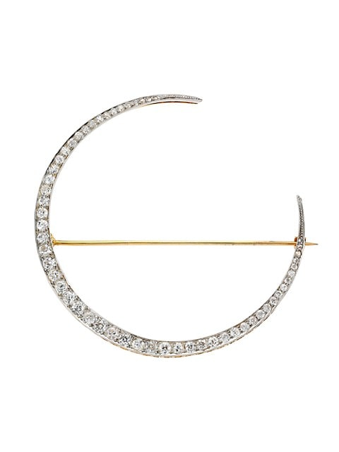 18K Yellow Gold & Antique Diamond Crescent Moon Brooch