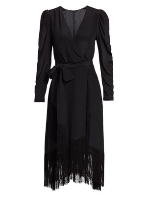Kobi Halperin Phoebe Fringe Wrap Silk Dress