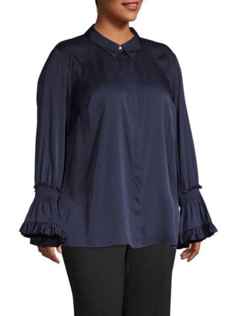 Kobi Halperin Hannah Plus Size Bell-Sleeve Blouse | SaksFifthAvenue