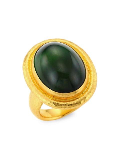 24K Gold & Green Toumaline Ring
