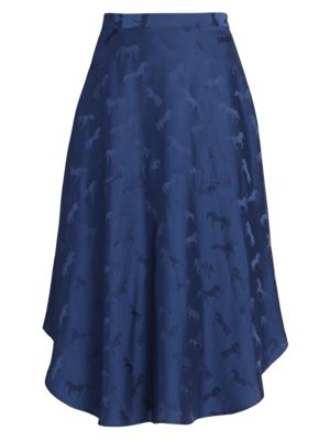 Stella Mccartney Horse Print Silk Blend Midi Skirt