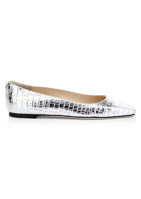 Polished square-toe flats made of sleek, croc-embossed leather. Metallic leather upper Square toe Slip-on style Leather lining Leather/rubber sole Made in Italy. Women\'s Shoes - Jimmy Choo Womens Shoes > Jimmy Choo > Saks Fifth Avenue > Barneys. Jimmy Choo. Color: Silver. Size: 36 (6).