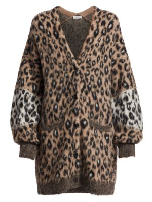 A L C Leone Leopard Oversized Cardigan Sweater