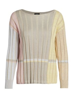 Akris Knits Variazoni Striped Silk & Linen Knit Sweater