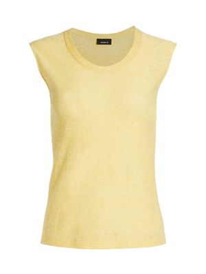 Akris Knits Sleeveless Linen & Cotton Knit Shell Top