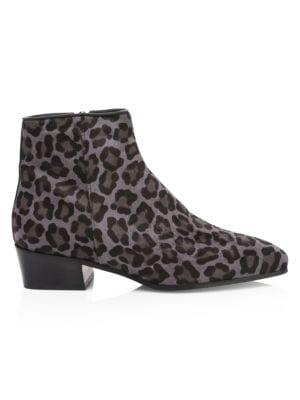 Aquatalia Boots Fuoco Leopard-Print Calf Hair Ankle Boots