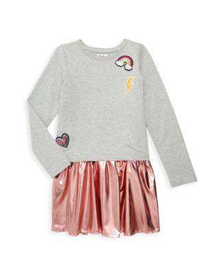 Hatley Little Girl S Girl S Pretty Patches Metallic Twofer Dress