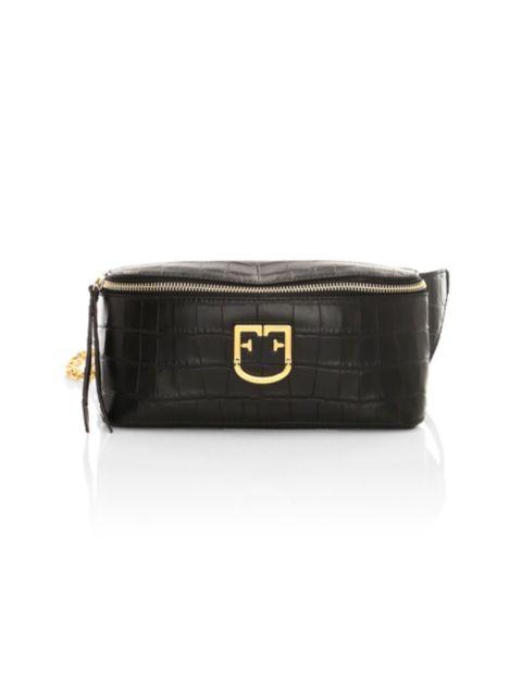 Furla Isola Croc-Embossed Leather Belt Bag   SaksFifthAvenue