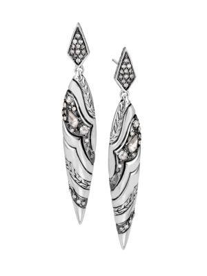 John Hardy Accessories Lahar Diamond & Sterling Silver Marquise Drop Earrings