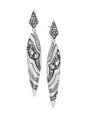 John Hardy Lahar Diamond Sterling Silver Marquise Drop Earrings