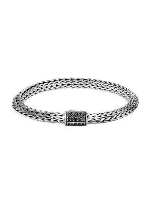 John Hardy Accessories Chain Classic Sterling Silver & Black Sapphire Tiga Chain Bracelet