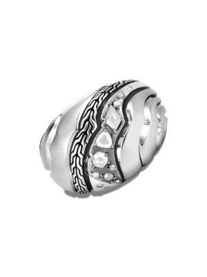 John Hardy Accessories Lahar Diamond & Sterling Silver Dome Ring