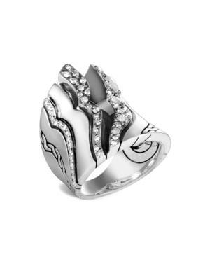John Hardy Accessories Lahar Diamond Sterling Silver Saddle Ring