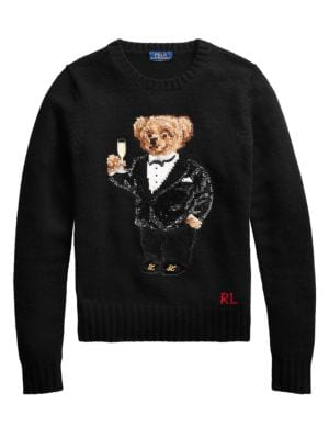 Sequin Bear Long Sleeve Sweater
