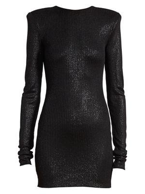 Metallic Ribbed Bodycon Dress