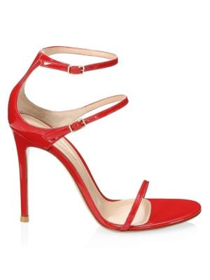 Gianvito Rossi Women's Double Buckle Leather Sandals In Tabasco Red Vernice