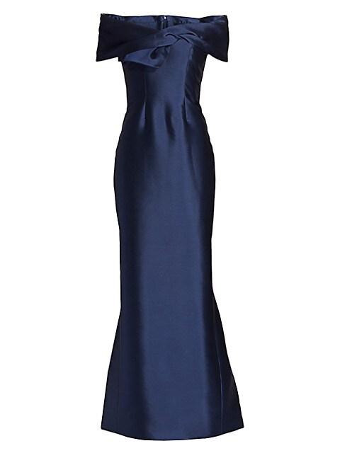 Off-The-Shoulder Twist-Front Silk Radzimir Gown