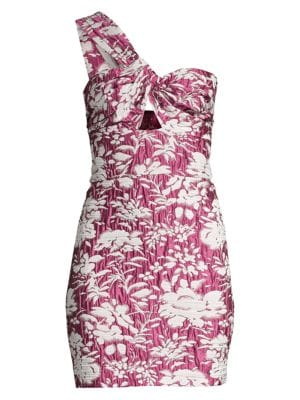 Alexis Livie Asymmetric Floral Jacquard Mini Sheath Dress