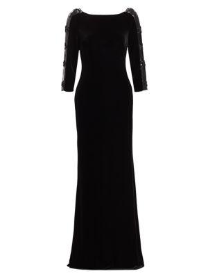 Badgley Mischka Sleeveless Embellished Velvet Dress