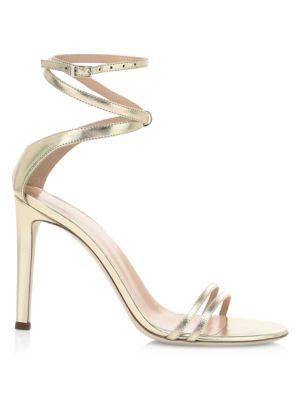 Giuseppe Zanotti Catia Ankle Wrap Metallic Leather Sandals