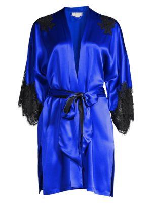 Christine Diva Lace Trim Silk Kimono