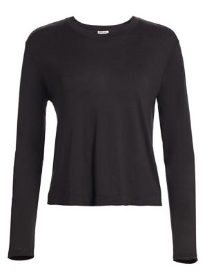 Splendid Tops Cropped Long-Sleeve Stretch Top