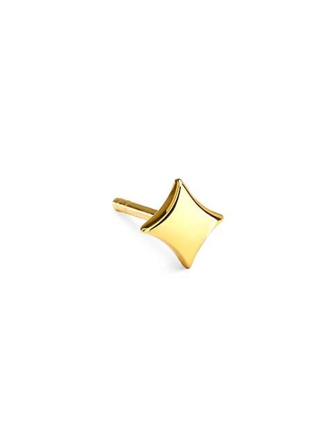 14K Yellow Gold Plain Star Single Stud Earring