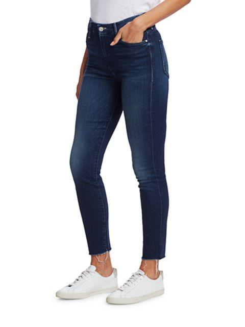 Mother The Looker High-Rise Ankle Skinny Fray Hem Jeans   SaksFifthAvenue