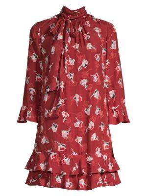 Rebecca Taylor Dresses Paintbrush Stretch-Silk Ruffle Dress