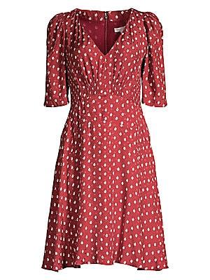 Sunrise Dot Stretch Silk Dress by Rebecca Taylor
