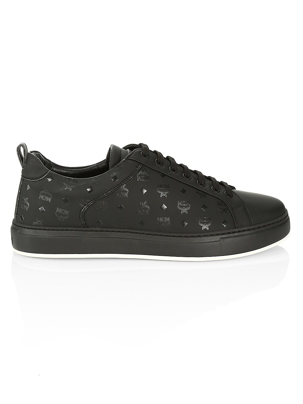 MCM MEN'S LOGO GROUP M LEATHER SNEAKERS