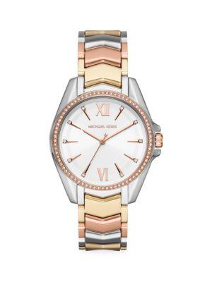 Michael Kors Women's Core Whitney Tri-tone Pavé Crystal & Stainless Steel Bracelet Watch In Silver