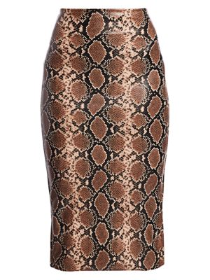 Commando Skirts Leopard Print Faux-Leather Midi Skirt