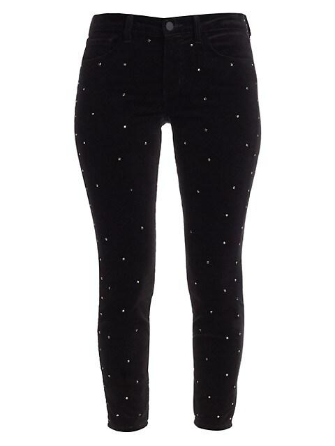Margot High-Rise Ankle Skinny Velvet Crystal Jeans