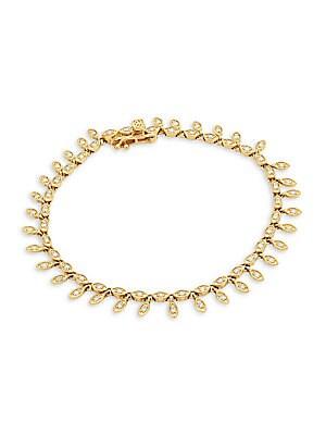 14 K Yellow Gold & Diamond Marquis Eye Fringe Eternity Bracelet by Sydney Evan