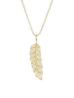 Sydney Evan 14k Yellow Gold Diamond Pav Feather Pendant Necklace