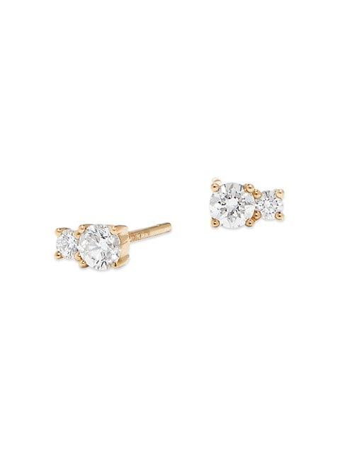 14K Gold & Diamond Double Solo Stud Earrings