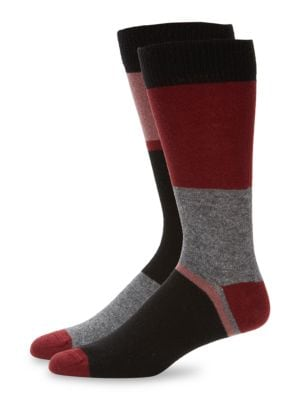 Paul Smith Men's Block Stripe Socks In Black