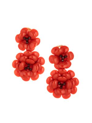 Oscar De La Renta Embellished Gardenia Floral Clip On Drop Earrings
