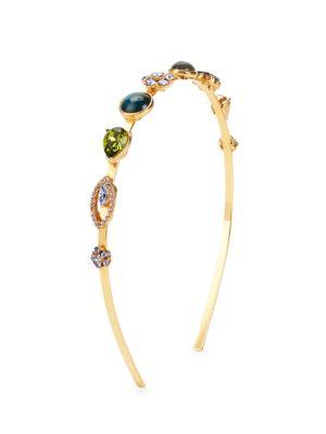 Oscar De La Renta Bold Crystal & Cabochon Headband In Navy