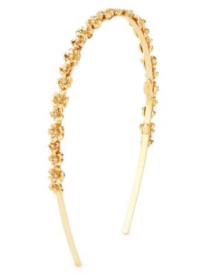 Oscar De La Renta Metal Flower Headband In Gold