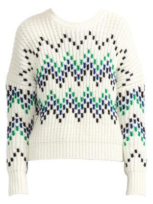 Maje Massimo Chevron Chunky Wool Blend Rib Knit Sweater