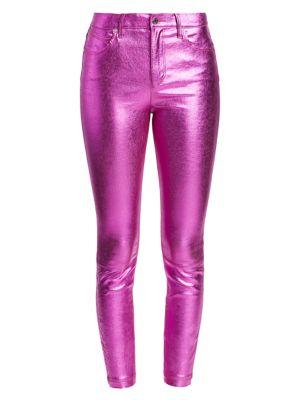 bottom price harmonious colors 100% satisfaction Madrid Metallic Leather Pants