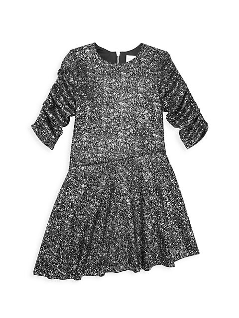 Girl's Delia Asymmetric Sparkle Dress