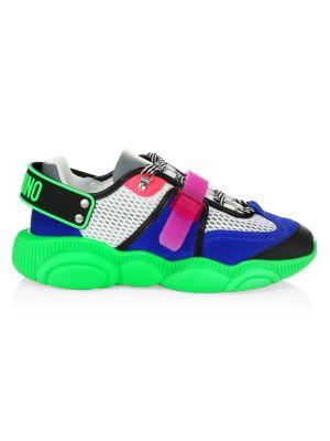 Moschino Men S Neon Patchwork Mix Media Sneakers